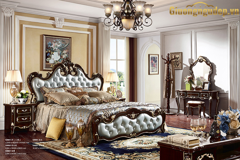 Giường ngủ ngọc trai nâu bóng
