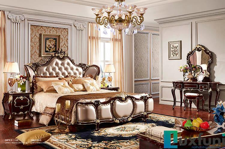 Giường ngủ ngọc trai nâu bóng đẹp G8818X