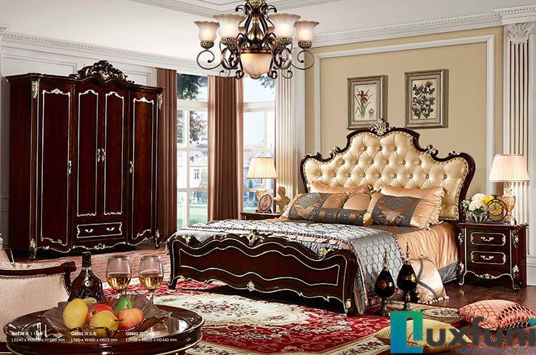 Giường ngủ ngọc trai nâu bóng đẹp G8830X