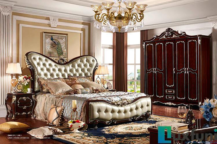 Giường ngủ ngọc trai nâu bóng đẹp G8831X