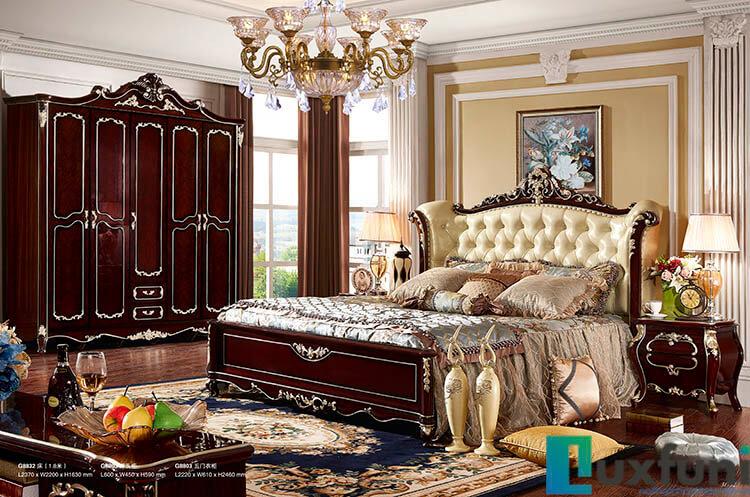 Giường ngủ ngọc trai nâu bóng đẹp G8832X