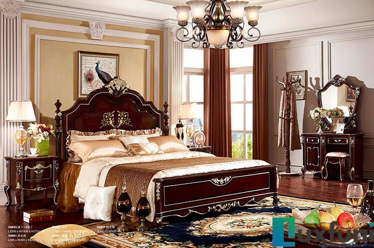 Giường ngủ ngọc trai nâu bóng đẹp G8833X