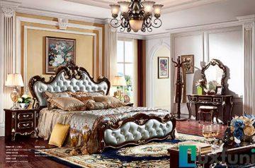Giường ngủ ngọc trai nâu bóng đẹp G8801X