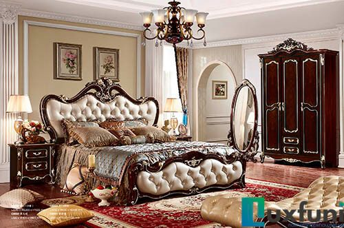 Giường ngủ tân cổ điển ngọc trai nâu bóng 8802X