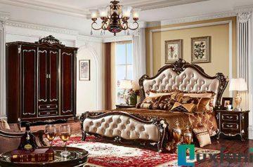 Giường ngủ ngọc trai nâu bóng đẹp G8805X