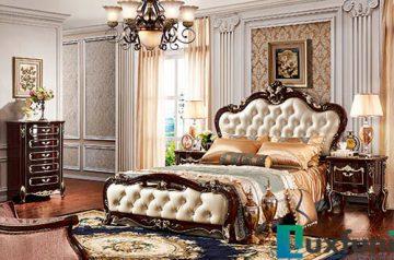 Giường ngủ ngọc trai nâu bóng đẹp G8816X