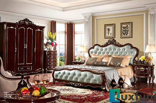 Giường ngủ ngọc trai nâu bóng đẹp G8823X