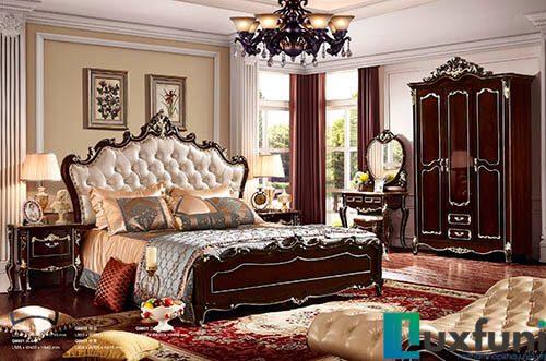 Giường ngủ ngọc trai nâu bóng đẹp G8826X