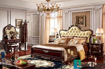 Giường ngủ ngọc trai nâu bóng đẹp G8835X