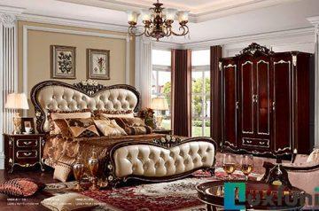 Giường ngủ ngọc trai nâu bóng đẹp G8836X