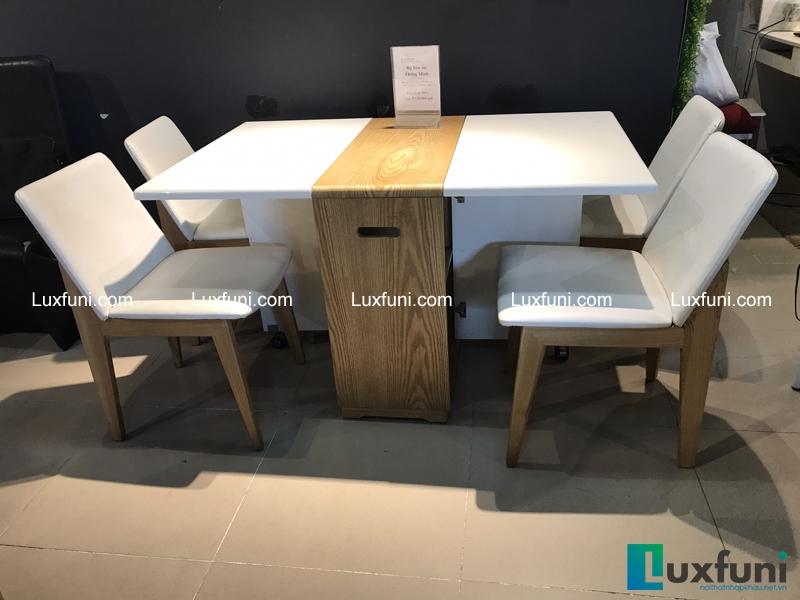 Hình ảnh tổng quan cả bộ bàn ghế ăn LSDT 18 đang được sale hơn 50% tại LuxFuni
