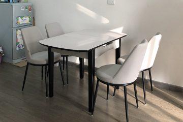 Bộ bàn ăn mở rộng mặt kính B68