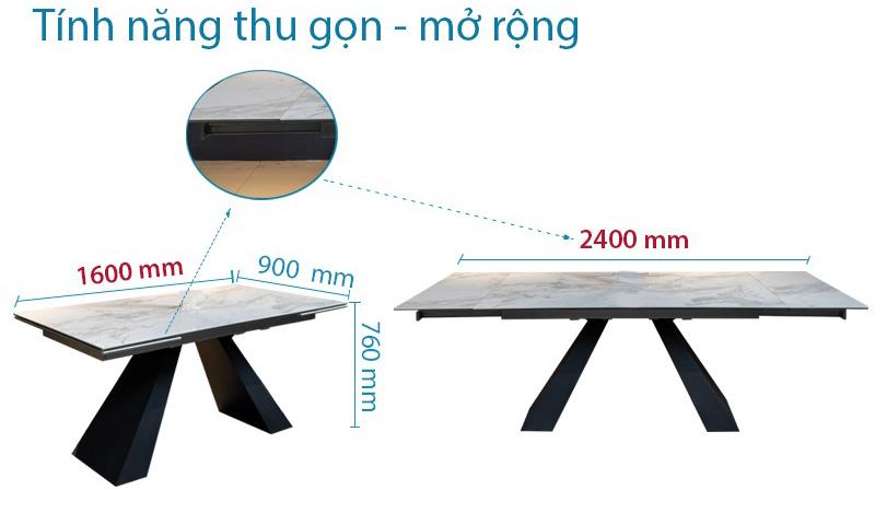 Kích thước bàn thay đổi linh hoạt từ 6-8 người