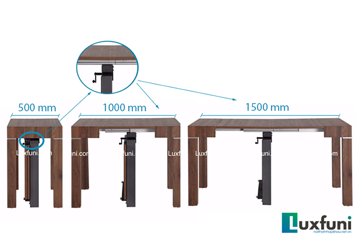 Bàn ăn mặt gỗ có khả năng mở rộng từ 500mm lên đến 1500 mm.