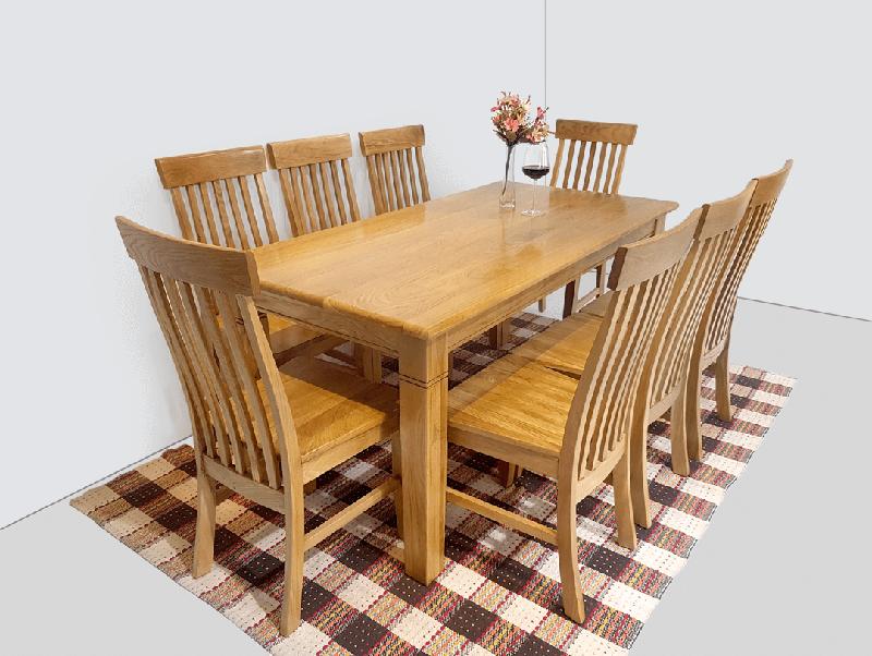 Bộ bàn ăn hiện đại 8 ghê bằng gỗ