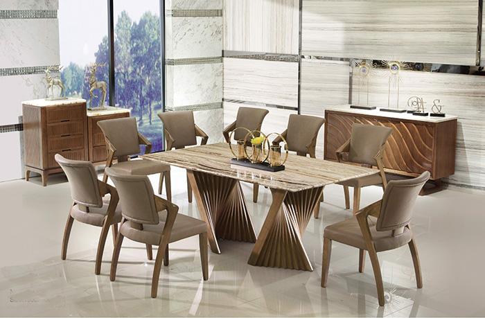 Bộ bàn ăn 8 ghế mặt đá
