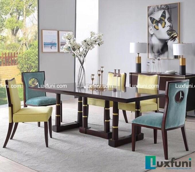 Bộ bàn ăn mặt gỗ tân cổ điển đương đại
