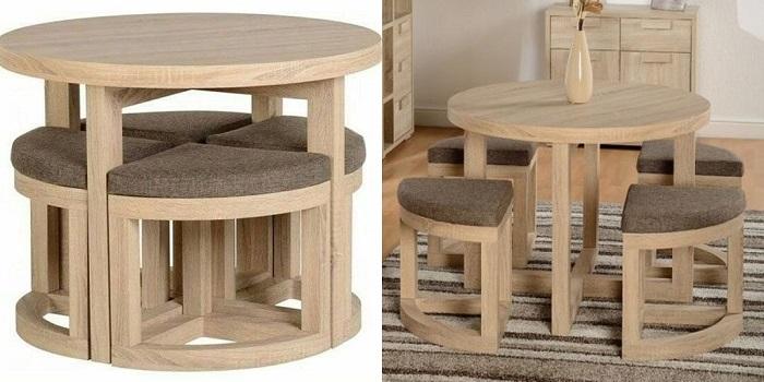 Bộ bàn ăn tròn giấu ghế đa năng