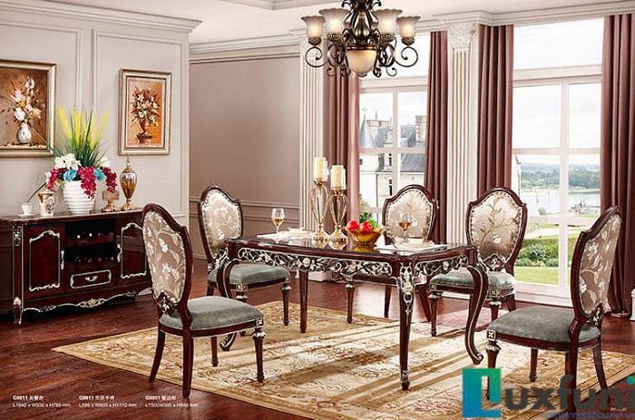 Chiêm ngưỡng 10+ Bộ bàn ghế gỗ tân cổ điển cho phòng ăn cao cấp-1