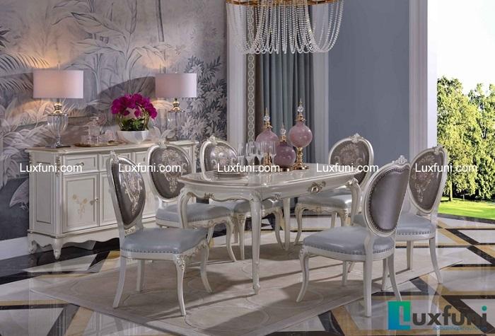 Chiêm ngưỡng 10+ Bộ bàn ghế gỗ tân cổ điển cho phòng ăn cao cấp-10