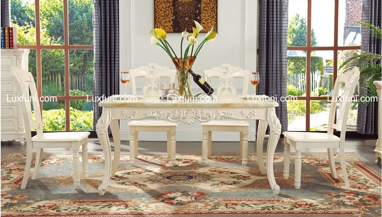 Chiêm ngưỡng 10+ Bộ bàn ghế gỗ tân cổ điển cho phòng ăn cao cấp