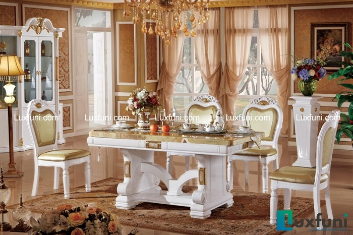 Chiêm ngưỡng 10+ Bộ bàn ghế gỗ tân cổ điển cho phòng ăn cao cấp-2