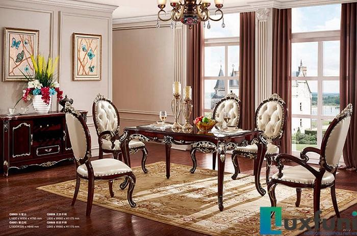 Chiêm ngưỡng 10+ Bộ bàn ghế gỗ tân cổ điển cho phòng ăn cao cấp-3