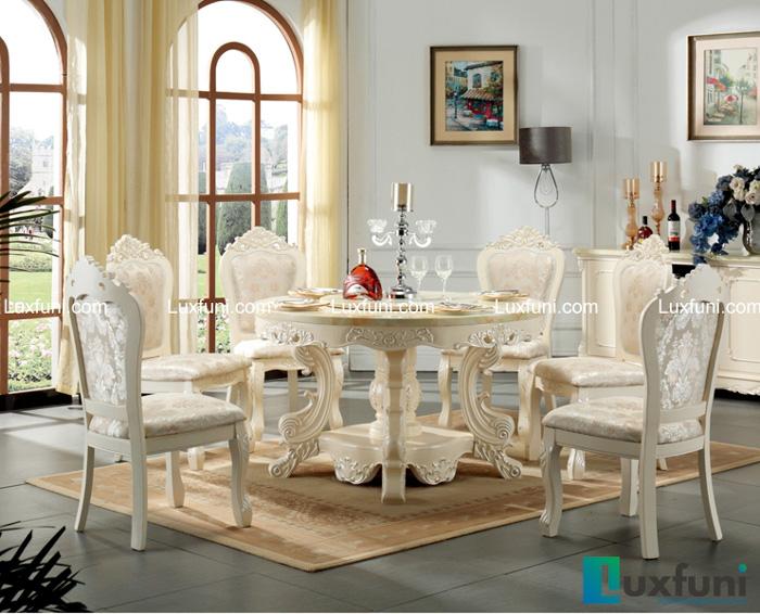 Chiêm ngưỡng 10+ Bộ bàn ghế gỗ tân cổ điển cho phòng ăn cao cấp-5