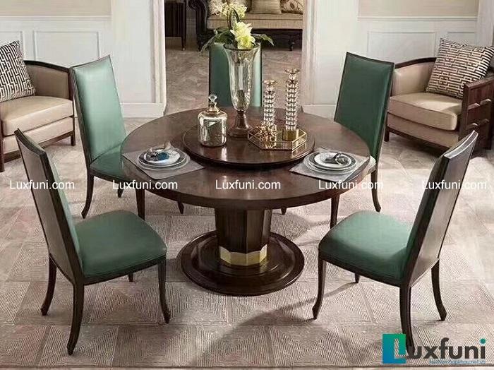 Chiêm ngưỡng 10+ Bộ bàn ghế gỗ tân cổ điển cho phòng ăn cao cấp-6