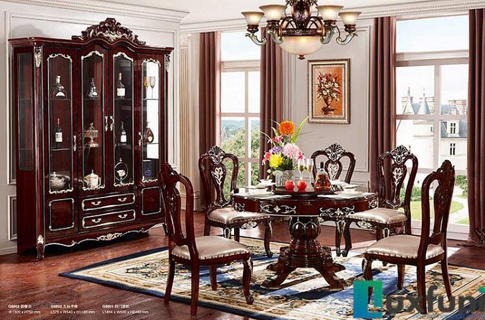 Chiêm ngưỡng 10+ Bộ bàn ghế gỗ tân cổ điển cho phòng ăn cao cấp-7