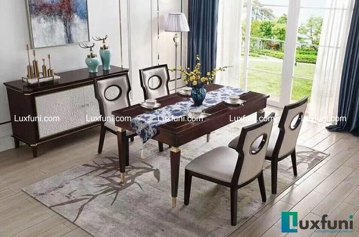 Chiêm ngưỡng 10+ Bộ bàn ghế gỗ tân cổ điển cho phòng ăn cao cấp-8