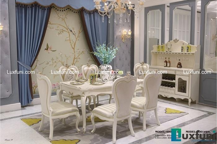 Chiêm ngưỡng 10+ Bộ bàn ghế gỗ tân cổ điển cho phòng ăn cao cấp-9