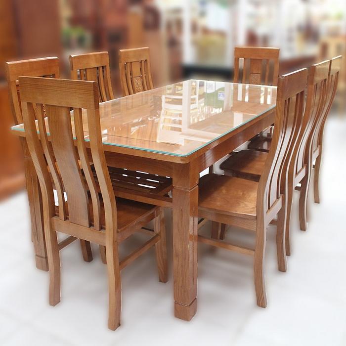 Những mẫu bàn ăn gỗ mặt kính phổ biến nhất hiện nay-1
