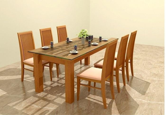 Những mẫu bàn ăn gỗ mặt kính phổ biến nhất hiện nay-2