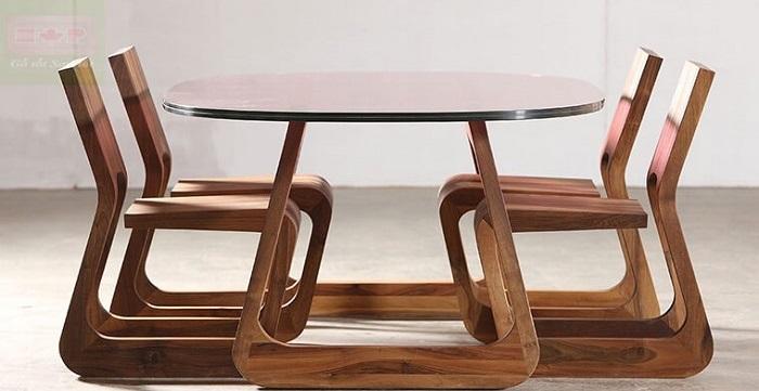 Những mẫu bàn ăn gỗ mặt kính phổ biến nhất hiện nay-3