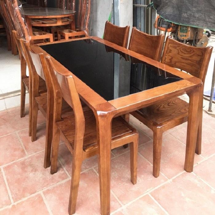 Những mẫu bàn ăn gỗ mặt kính phổ biến nhất hiện nay-4