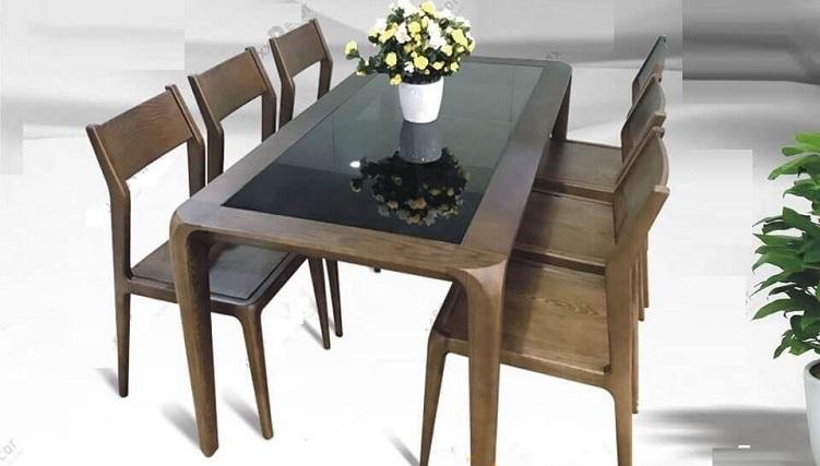 Những mẫu bàn ăn gỗ mặt kính phổ biến nhất hiện nay-5