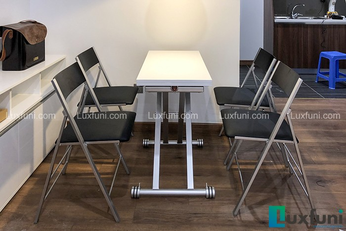 Ghế ăn C3332 đen kết hợp bàn ăn thông minh B2166-Chú Quý-Tòa D2, Chung cư 6th Element, Nguyễn Văn Huyên-1