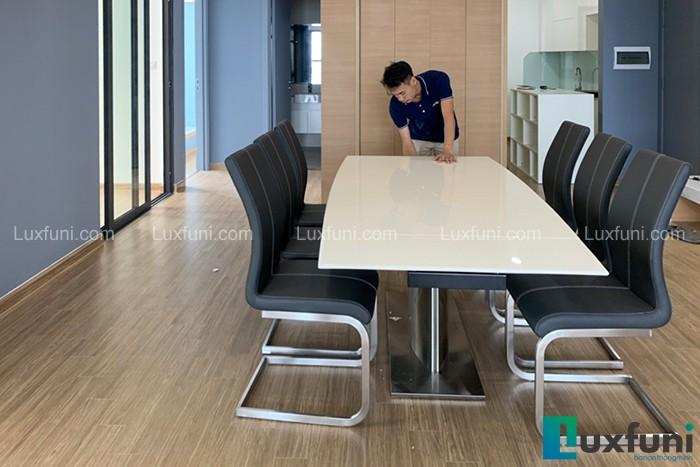 Ghế ăn C394 kết hợp bàn ăn thông minh mặt đá T809-Chị Thu-Vinhomes Skylake, Phạm Hùng