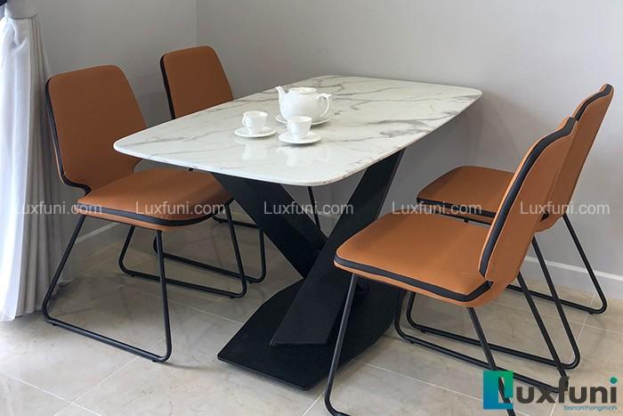 Ghế ăn D111 kết hợp bàn ăn mặt đá trắng hoa cương T261-Anh Lượng-Tòa C2, D'Capital, Trần Duy Hưng
