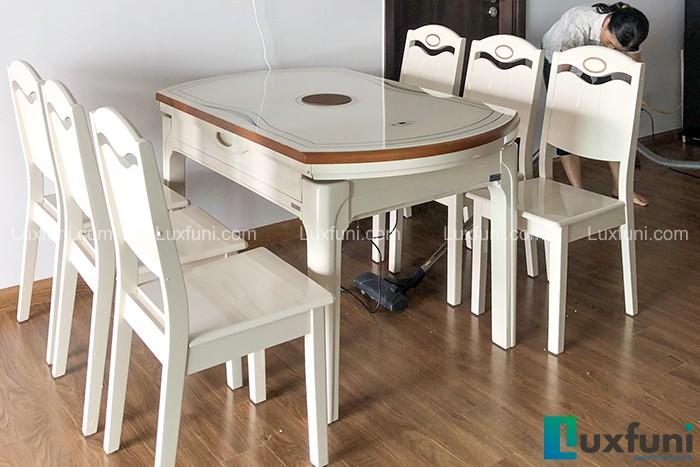 Ghế ăn Y8319 kết hợp bàn ăn bếp từ T1718-Chú Hùng, Tòa B, Chung cư Gamuda, Yên Sở