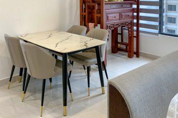 Bộ bàn ăn mặt đá C6 (kèm 04 ghế)