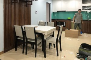 Ghế ăn A16 kết hợp bàn ăn bếp từ T1958-Chị Thu-Tòa S2, Gold Mark City, 136 Hồ Tùng Mậu-1