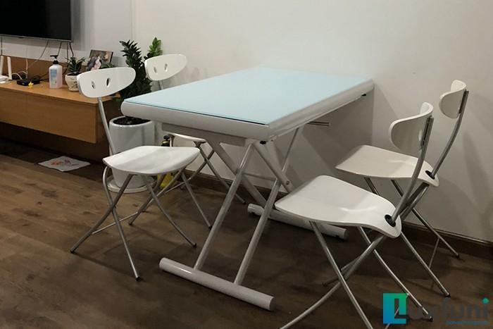 Ghế ăn C3391 kết hợp bàn ăn thông minh mở rộng-nâng hạ B2422-Chị Nhung-Tòa CT2, Chung cư Hateco, Xuân Phương, Nam Từ Liêm-1