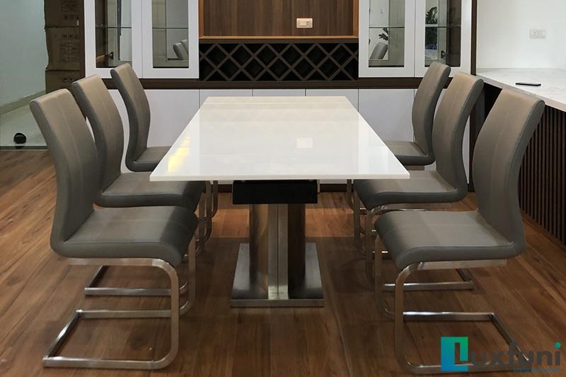 Hình ảnh thực tế bàn ăn thông minh mặt đá 8606-11