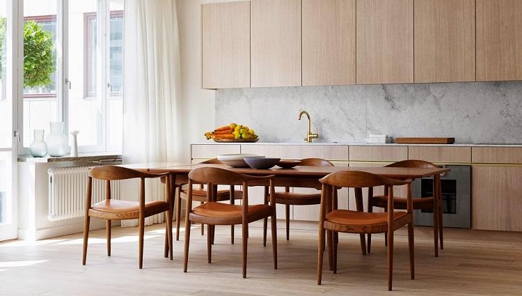 Những mẫu bàn ăn hiện đại mặt gỗ nâng tầm không gian bếp