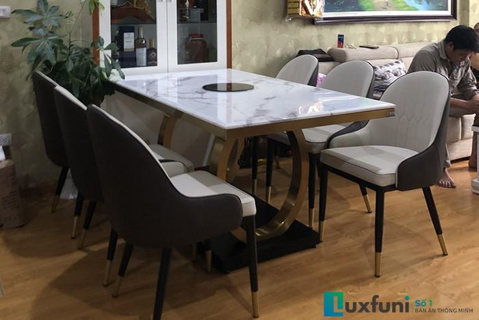 Ghế ăn D103 kết hợp bàn ăn mặt đá bếp từ 075-Anh Quân-Tòa 27A2, chung cư Green Star, 234 Phạm Văn Đồng-1