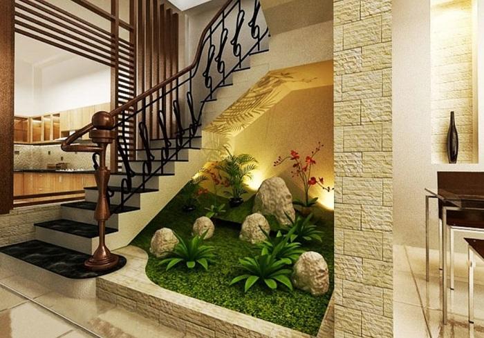 5 cách trang trí gầm cầu thang phòng khách-3