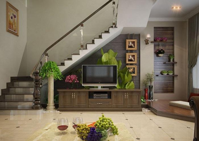 5 cách trang trí gầm cầu thang phòng khách-4