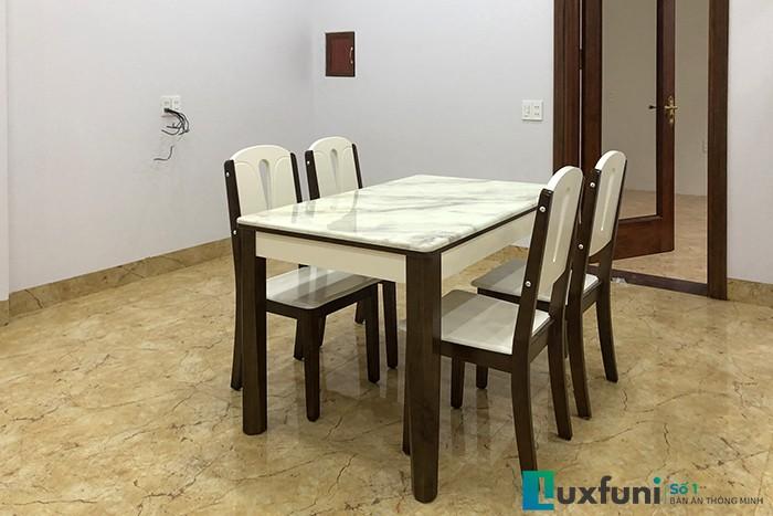 Bộ bàn ăn mặt đá A10 thiết kế đơn giản